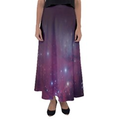 Christmas Tree Cluster Red Stars Nebula Constellation Astronomy Flared Maxi Skirt by snek
