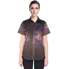 Orion Nebula Star Formation Orange Pink Brown Pastel Constellation Astronomy Women s Short Sleeve Shirt