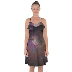 Orion Nebula Star Formation Orange Pink Brown Pastel Constellation Astronomy Ruffle Detail Chiffon Dress by genx