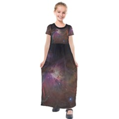 Orion Nebula Star Formation Orange Pink Brown Pastel Constellation Astronomy Kids  Short Sleeve Maxi Dress by genx