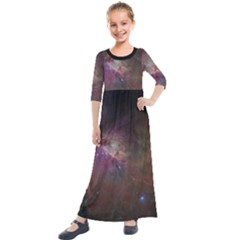 Orion Nebula Star Formation Orange Pink Brown Pastel Constellation Astronomy Kids  Quarter Sleeve Maxi Dress by genx