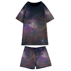 Orion Nebula Star Formation Orange Pink Brown Pastel Constellation Astronomy Kids  Swim Tee And Shorts Set by genx