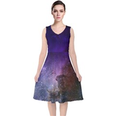 Carina Nebula Ngc 3372 The Grand Nebula Pink Purple And Blue With Shiny Stars Astronomy V Neck Midi Sleeveless Dress  by genx