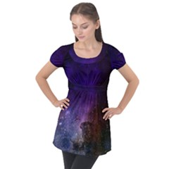 Carina Nebula Ngc 3372 The Grand Nebula Pink Purple And Blue With Shiny Stars Astronomy Puff Sleeve Tunic Top by genx