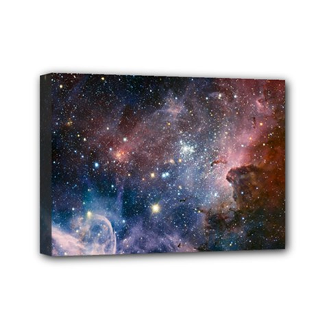 Carina Nebula Ngc 3372 The Grand Nebula Pink Purple And Blue With Shiny Stars Astronomy Mini Canvas 7  X 5  (stretched) by snek