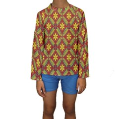 Abstract Floral Pattern Background Kids  Long Sleeve Swimwear