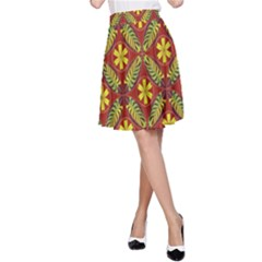 Abstract Floral Pattern Background A Line Skirt