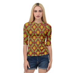 Abstract Floral Pattern Background Quarter Sleeve Raglan Tee