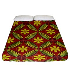 Abstract Floral Pattern Background Fitted Sheet (king Size)