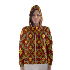 Abstract Floral Pattern Background Hooded Windbreaker (women)