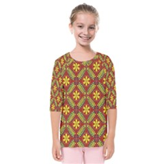 Abstract Floral Pattern Background Kids  Quarter Sleeve Raglan Tee