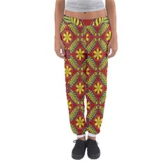 Abstract Floral Pattern Background Women s Jogger Sweatpants