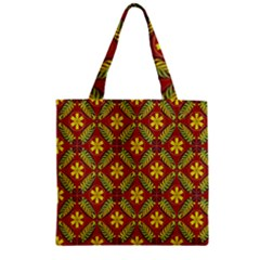 Abstract Floral Pattern Background Zipper Grocery Tote Bag