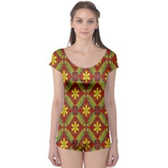 Abstract Floral Pattern Background Boyleg Leotard