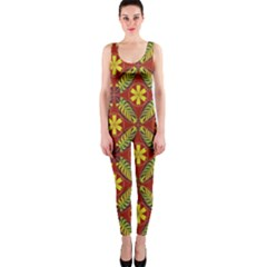 Abstract Floral Pattern Background One Piece Catsuit
