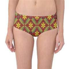 Abstract Floral Pattern Background Mid Waist Bikini Bottoms