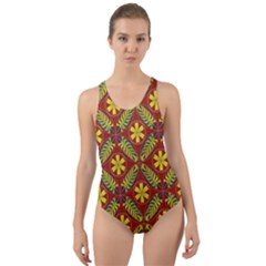 Abstract Floral Pattern Background Cut Out Back One Piece Swimsuit