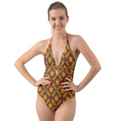 Abstract Floral Pattern Background Halter Cut Out One Piece Swimsuit