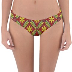 Abstract Floral Pattern Background Reversible Hipster Bikini Bottoms