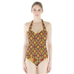 Abstract Floral Pattern Background Halter Swimsuit