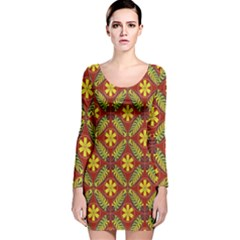 Abstract Floral Pattern Background Long Sleeve Velvet Bodycon Dress