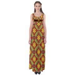 Abstract Floral Pattern Background Empire Waist Maxi Dress