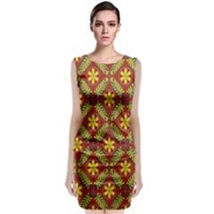 Abstract Floral Pattern Background Classic Sleeveless Midi Dress