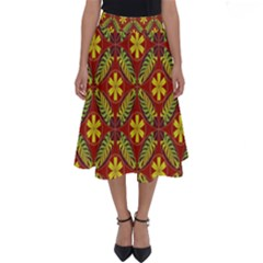 Abstract Floral Pattern Background Perfect Length Midi Skirt