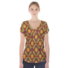 Abstract Floral Pattern Background Short Sleeve Front Detail Top
