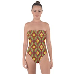 Abstract Floral Pattern Background Tie Back One Piece Swimsuit