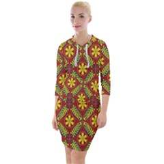 Abstract Floral Pattern Background Quarter Sleeve Hood Bodycon Dress