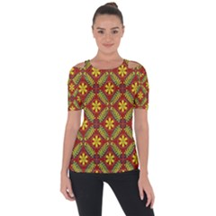 Abstract Floral Pattern Background Shoulder Cut Out Short Sleeve Top