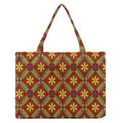 Abstract Floral Pattern Background Zipper Medium Tote Bag