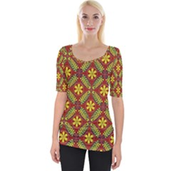 Abstract Floral Pattern Background Wide Neckline Tee