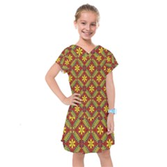Abstract Floral Pattern Background Kids  Drop Waist Dress