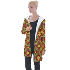 Abstract Floral Pattern Background Longline Hooded Cardigan