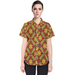 Abstract Floral Pattern Background Women s Short Sleeve Shirt