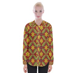 Abstract Floral Pattern Background Womens Long Sleeve Shirt