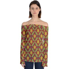 Abstract Floral Pattern Background Off Shoulder Long Sleeve Top