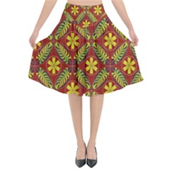 Abstract Floral Pattern Background Flared Midi Skirt