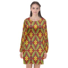 Abstract Floral Pattern Background Long Sleeve Chiffon Shift Dress