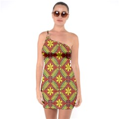 Abstract Floral Pattern Background One Soulder Bodycon Dress