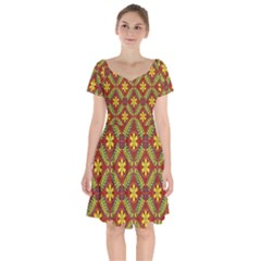 Abstract Floral Pattern Background Short Sleeve Bardot Dress