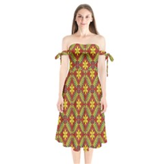 Abstract Floral Pattern Background Shoulder Tie Bardot Midi Dress