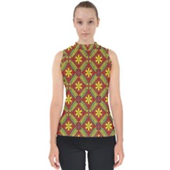 Abstract Floral Pattern Background Mock Neck Shell Top