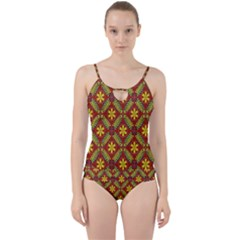 Abstract Floral Pattern Background Cut Out Top Tankini Set