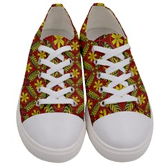 Abstract Floral Pattern Background Women s Low Top Canvas Sneakers