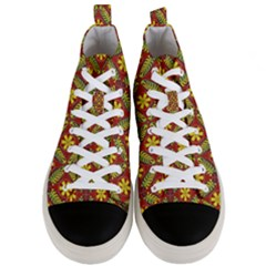 Abstract Floral Pattern Background Men s Mid Top Canvas Sneakers