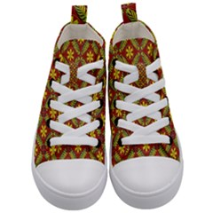 Abstract Floral Pattern Background Kid s Mid Top Canvas Sneakers
