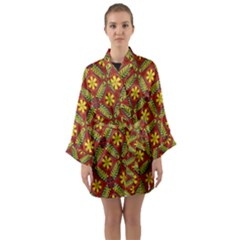 Abstract Floral Pattern Background Long Sleeve Kimono Robe